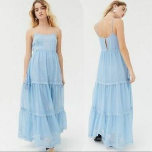 NWT. UO Embroidered Baby Blue Hanna Maxi Dress.